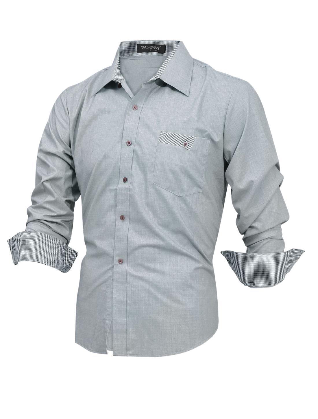 Men Plaids Detail Button-Front Panel Casual Shirt Light Gray M