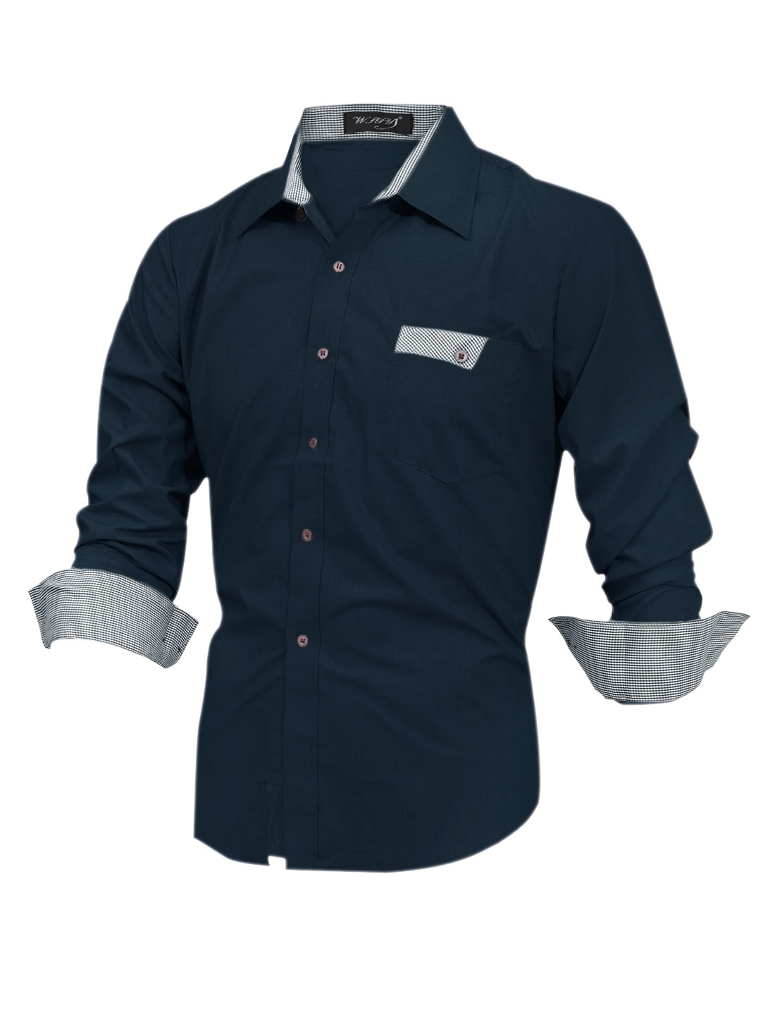 Men Plaids Detail One Breast Pocket Casual Shirt Navy Blue M