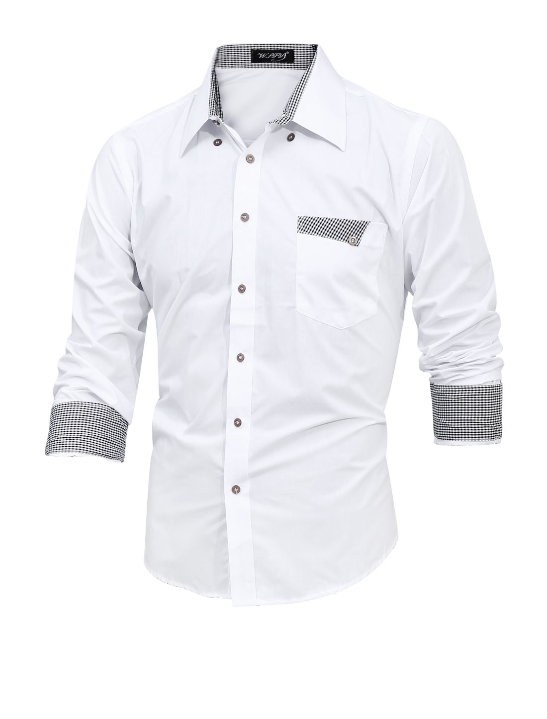 Men Plaids Detail Point Collar Long Sleeve Casual Shirt White M