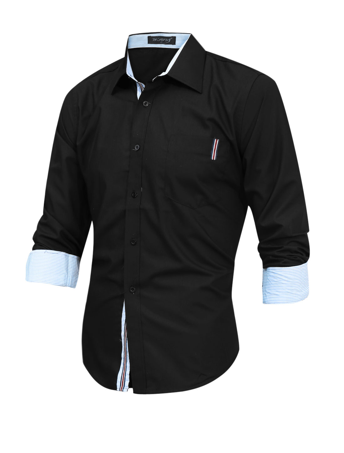 Men Point Collar One Pocket Chest Single Breasted Casual Shirt Black M