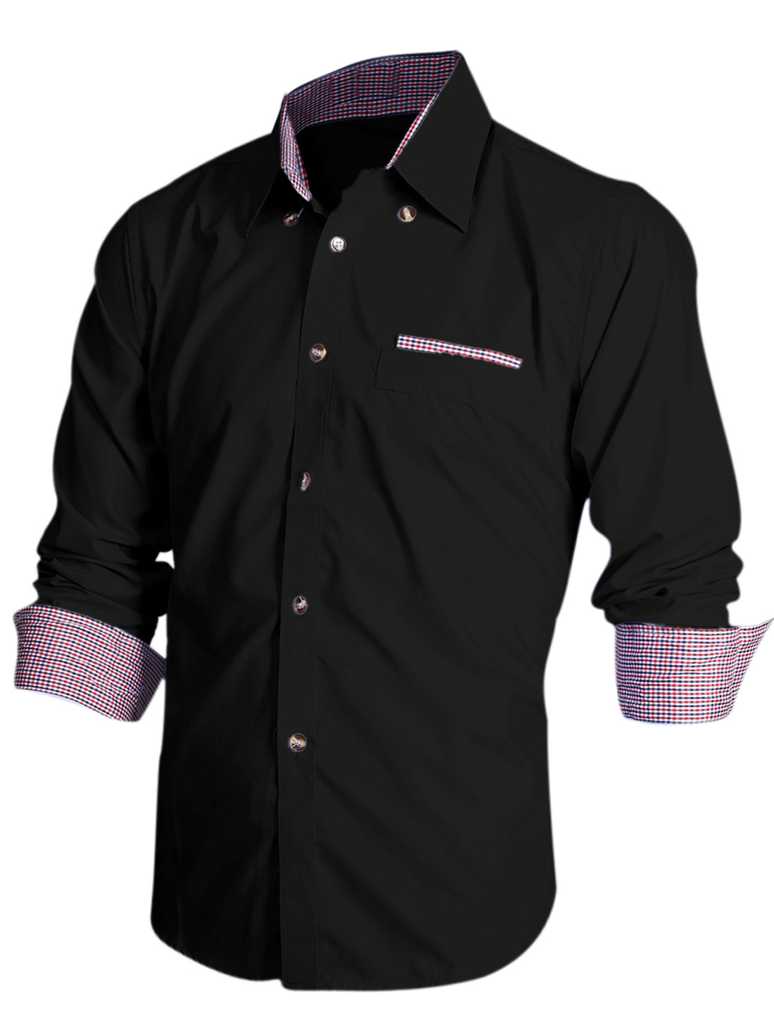 Men Point Collar Single Breasted Mock Pocket Design Casual Shirt Black M