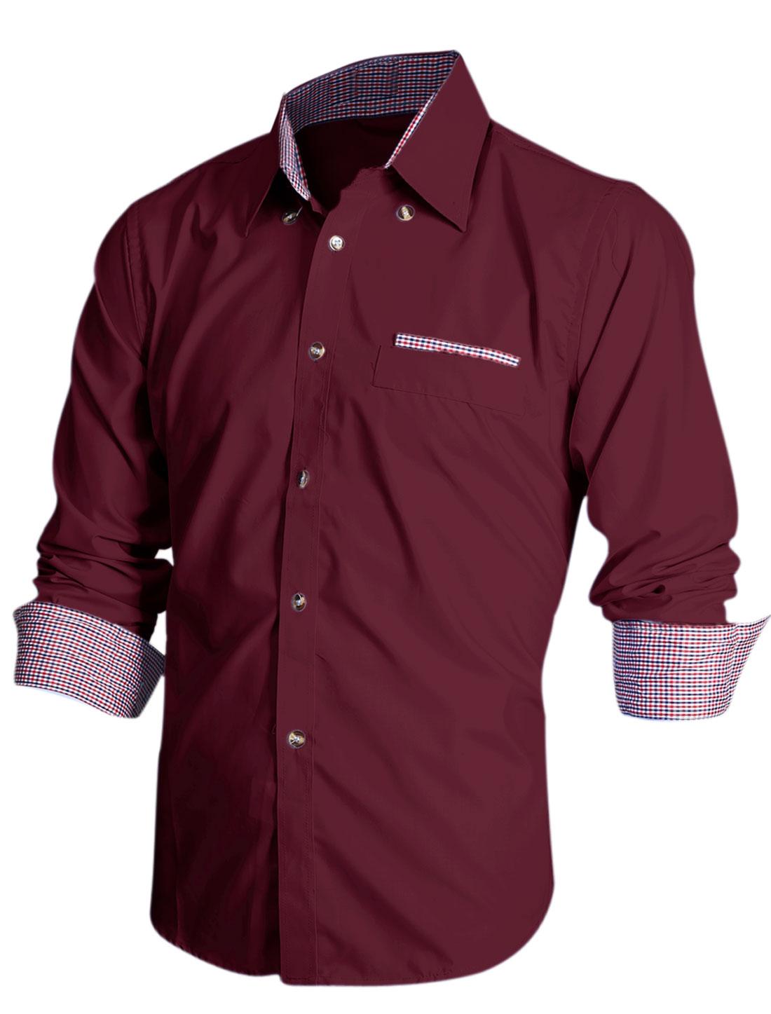 Men Point Collar Long Sleeve Plaids Detail Cozy Fit Shirt Burgundy M