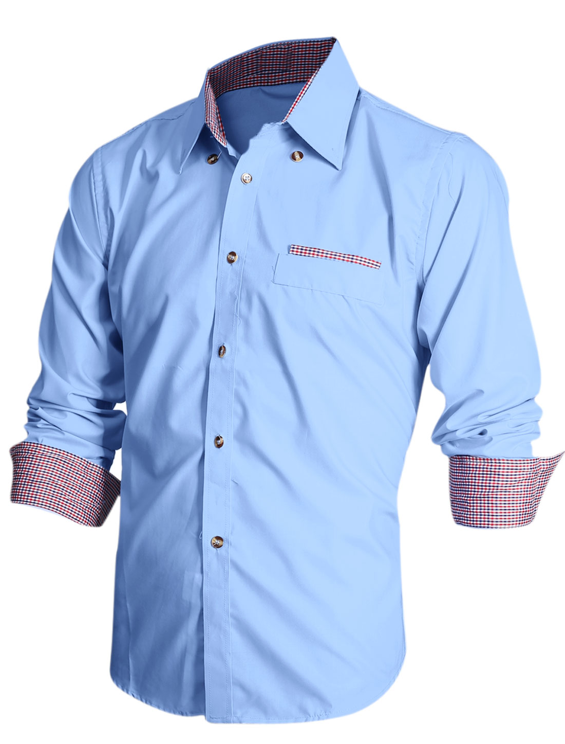 Slim Fit Single Breasted Casual Shirt for Men Light Blue M