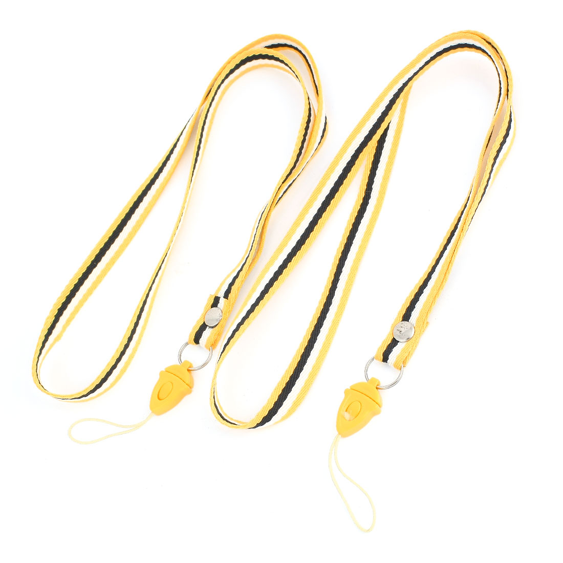 Work Card Stripe Print Phone Neck Cord Charm Strap Yellow White Black 2 Pcs