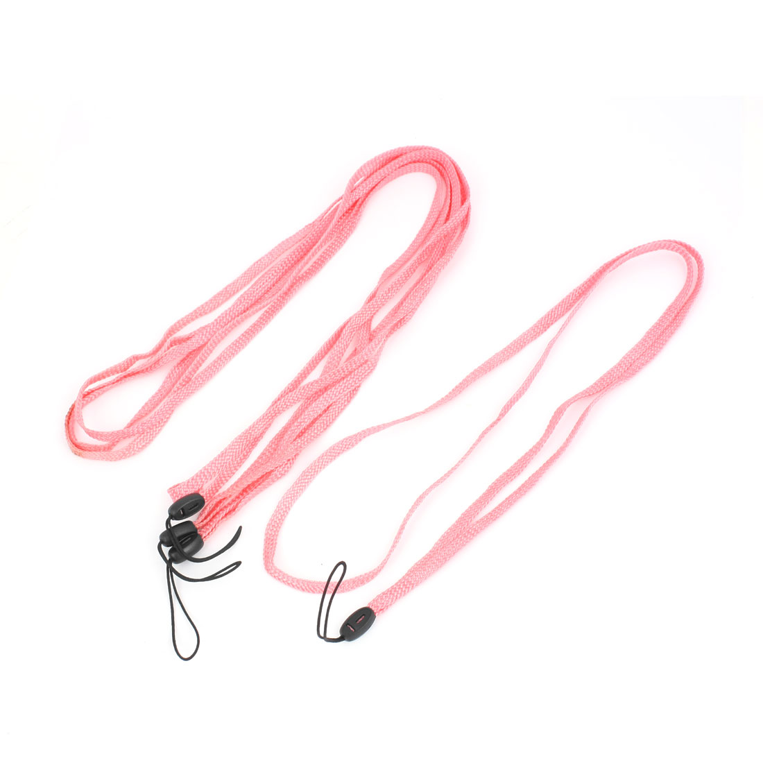 Mobile Cell Phone Camera Braided Band Neck Cord Strap String Pink 4 Pcs