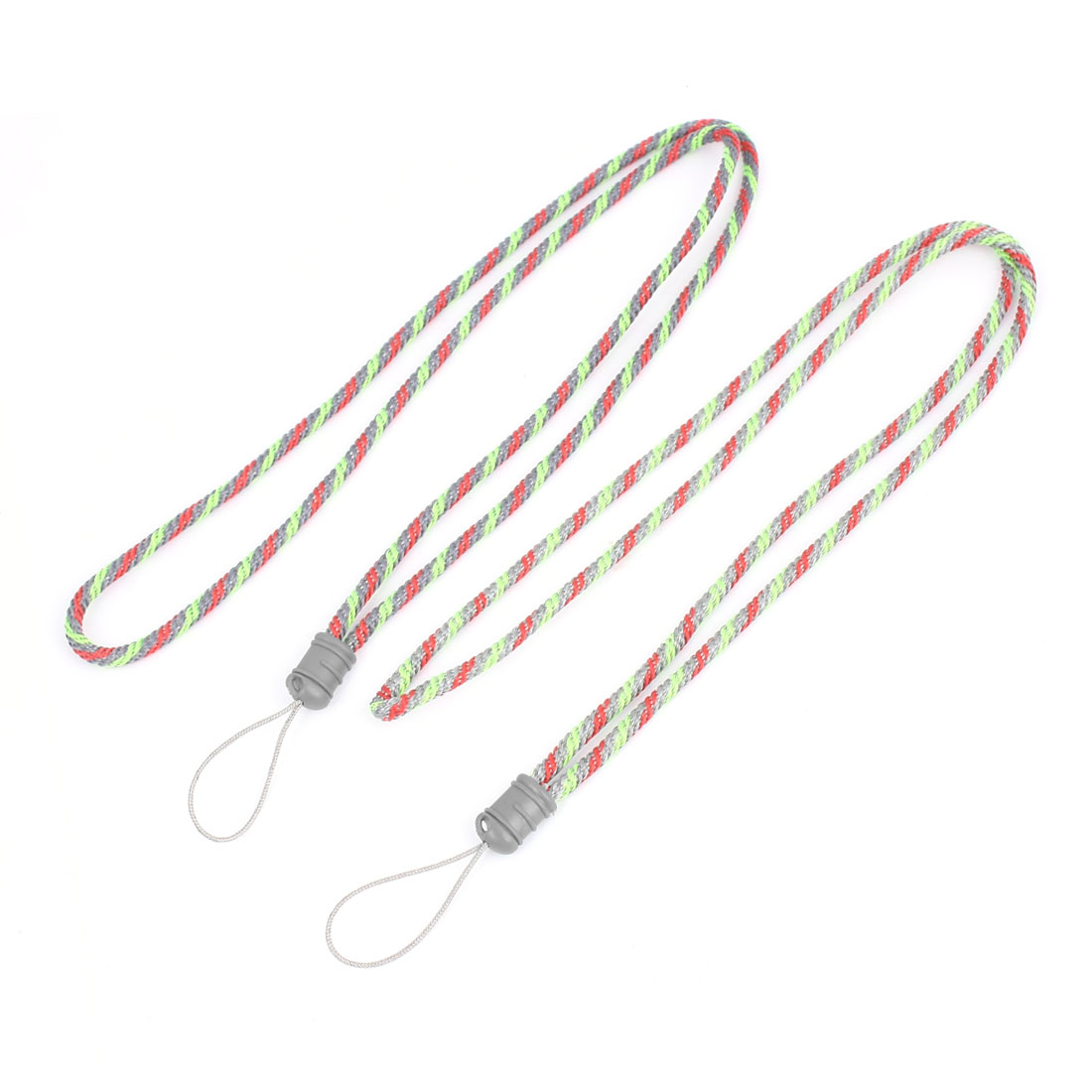 Phone Camera Braided Nylon String Neck Strap String Green Red Gray 2 Pcs