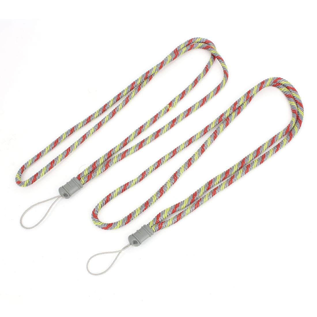 Cell Phone Work Card Nylon String Neck Cord Strap Yellow Red Gray 2 Pcs