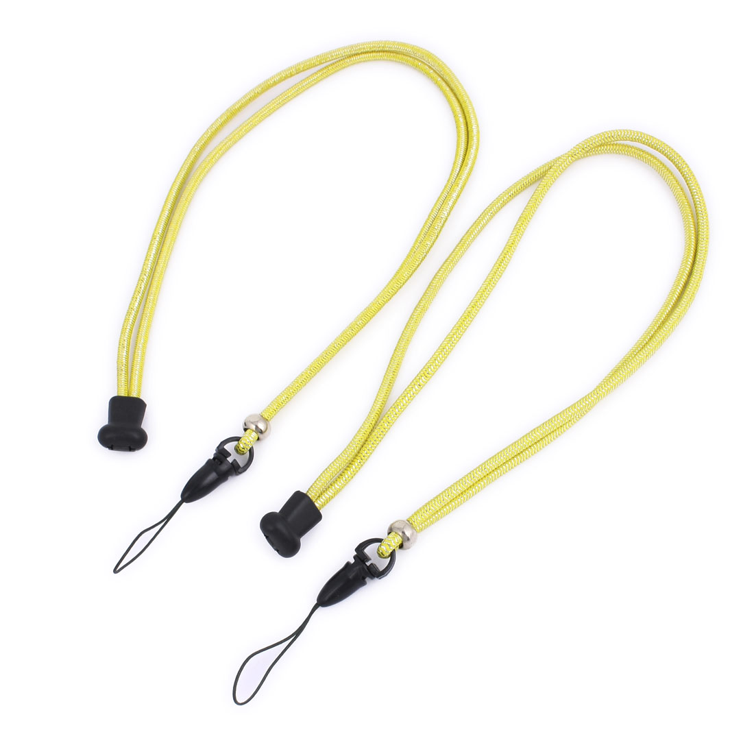 Cell Phone Camera Stretchy Rubber Band Neck Strap String Yellow 2 Pcs