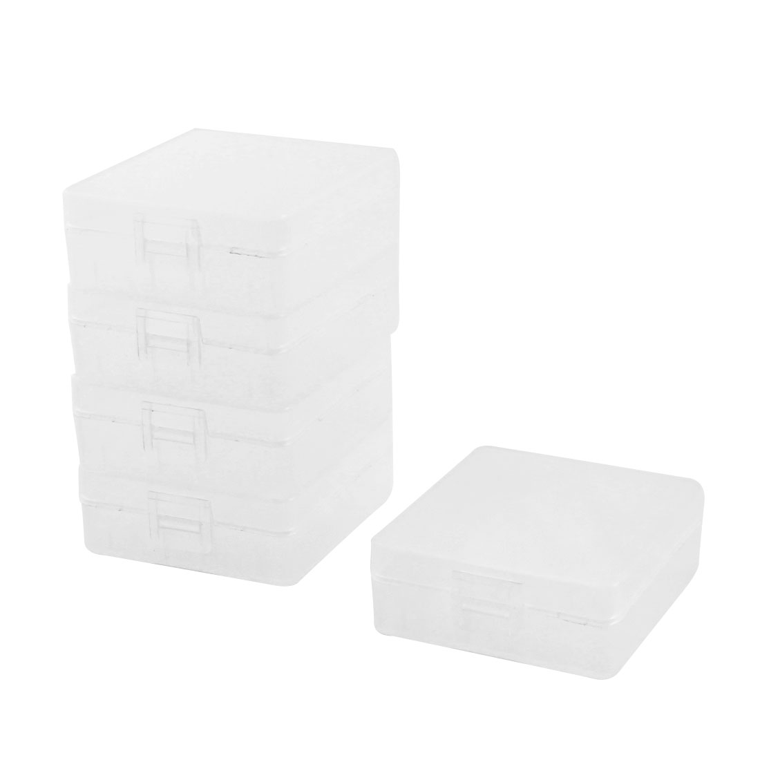 Clear Plastic 2 Capacity 9V Battery Holder Case Storage Box 5 Pcs