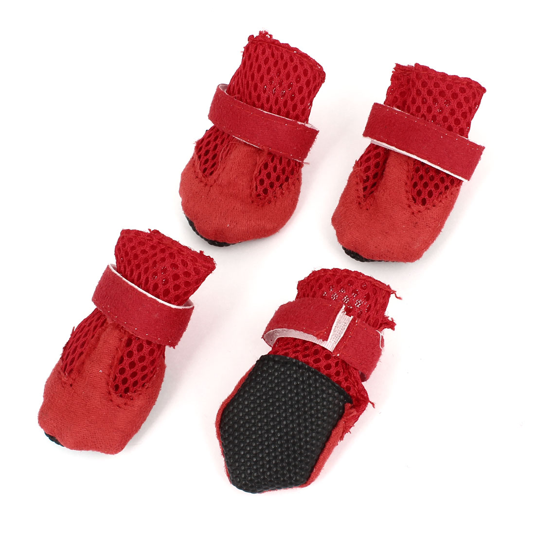 2 Pair Hook Loop Closure Pet Dog Mesh Shoes Boots Booties Red Size XXS