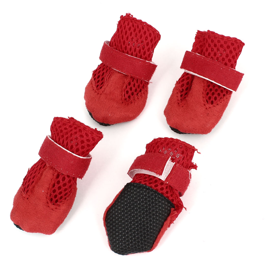2 Pair Hook Loop Closure Pet Dog Mesh Shoes Boots Booties Red Size XS