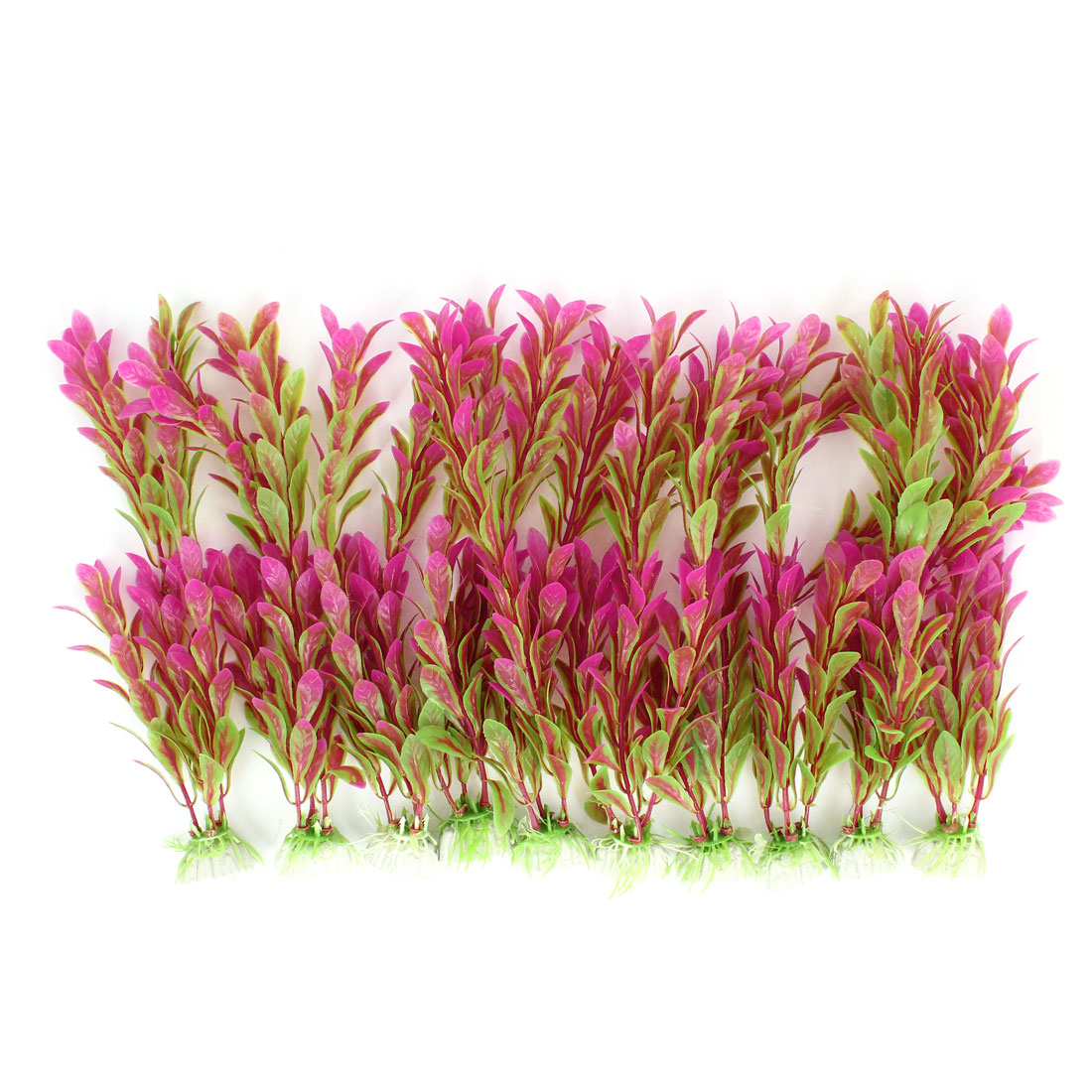 "Aquarium Landscaping Artificial Underwater Plant Grass Decor Fuchsia Green 9.5"" Height 10pcs"