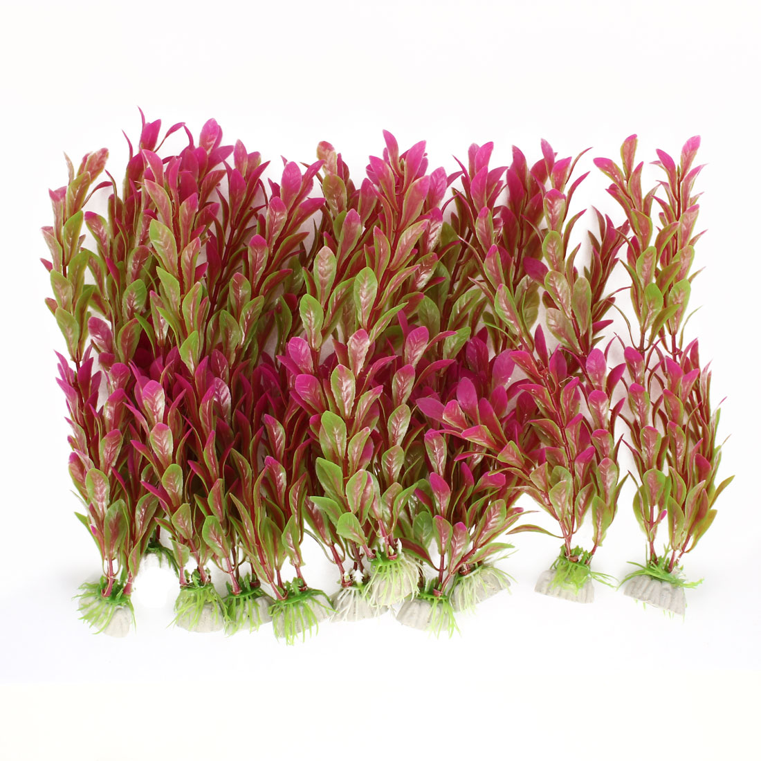 "Fish Tank Landscaping Emulational Water Plant Grass Decor Fuchsia Green 9.5"" Height 10pcs"