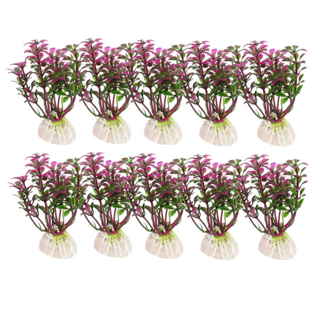 "Aquarium Landscaping Underwater Plant Grass Decor Fuchsia Green 3.5"" Height 10pcs"