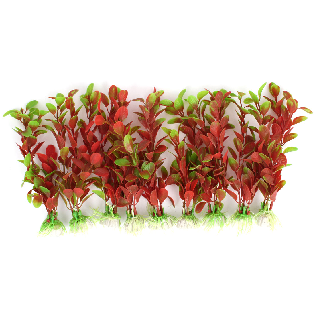 "Aquarium Fish Tank Landscaping Artificial Emulational Underwater Water Plant Grass Decor Fuchsia Green 7.3"" Height 9pcs"