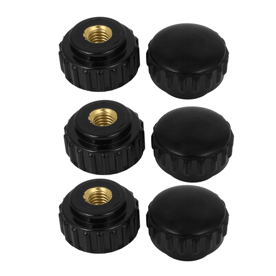 Round Shaped 1/16PT Female Thread Dia Brass Core Black Plastic Screw Knob 6pcs