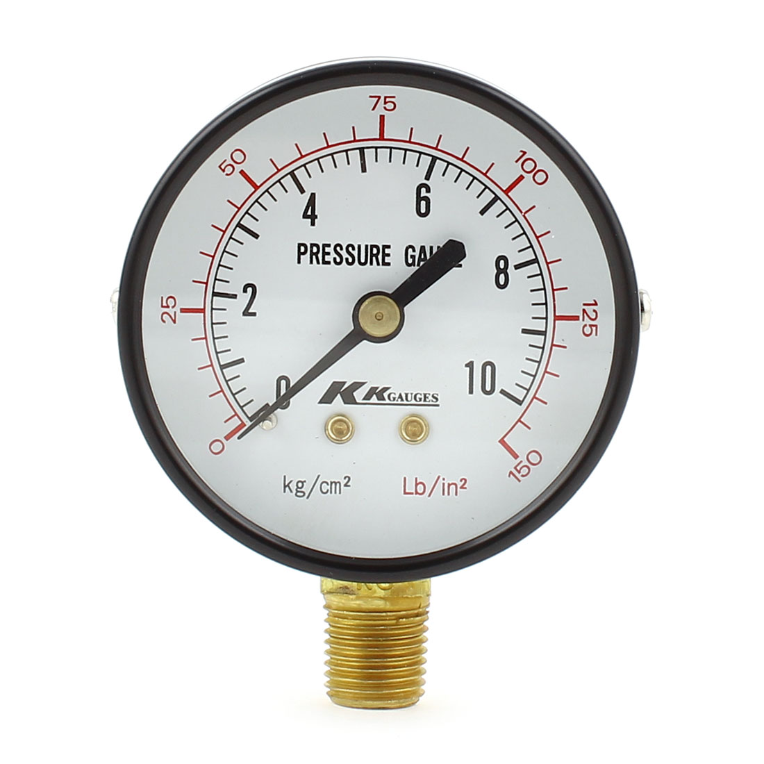 Horizontal Mount 1/4 PT Male Thread Water Air Pressure Gauge 10kg/cm2