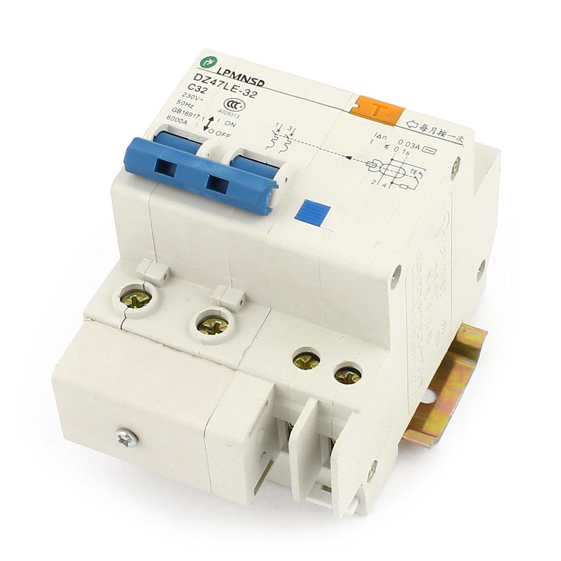 230V 32A DZ47LE-32 2 Phase 6kA Overload Circuit Breaker w Lead Rail