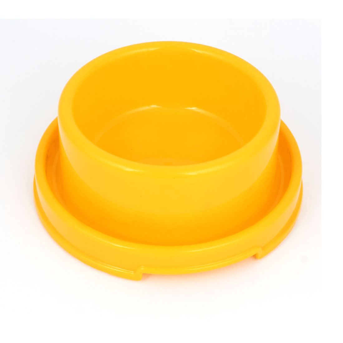 18cm Diameter 7cm Height Doggie Dog Pet Plastic Eat Food Water Bowl Dish Yellow