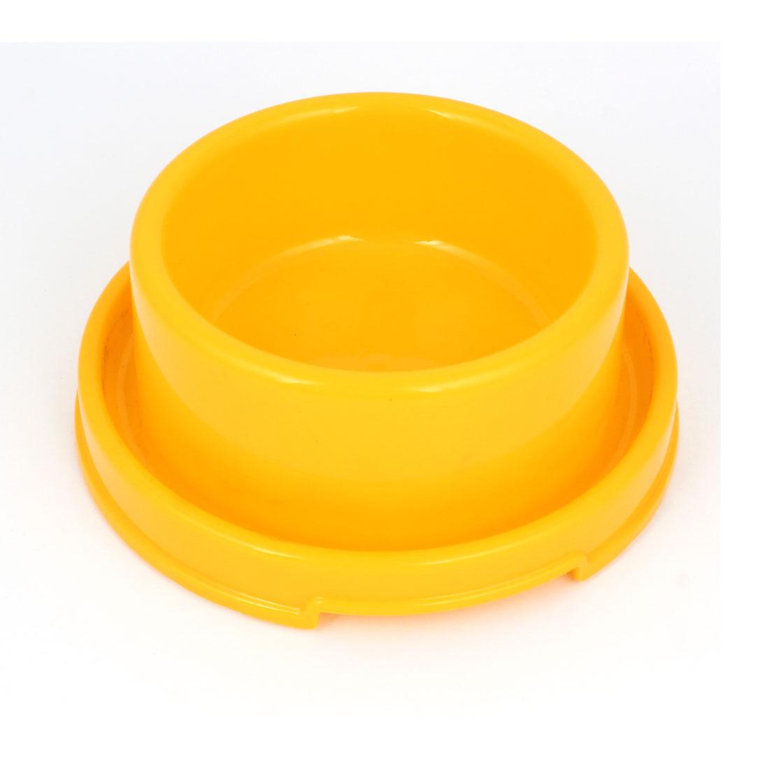 18cm Diameter 7cm Height Doggie Dog Pet Plastic Eat Food Water Bowl Dish Yellow