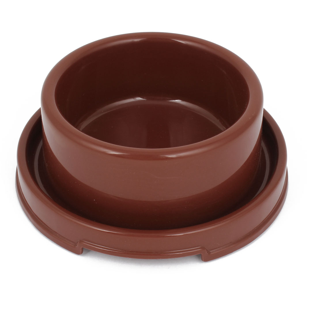 "7.2"" Diameter 2.8"" Height Doggie Dog Pet Plastic Eat Feeder Food Water Bowl Dish Coffee Color"