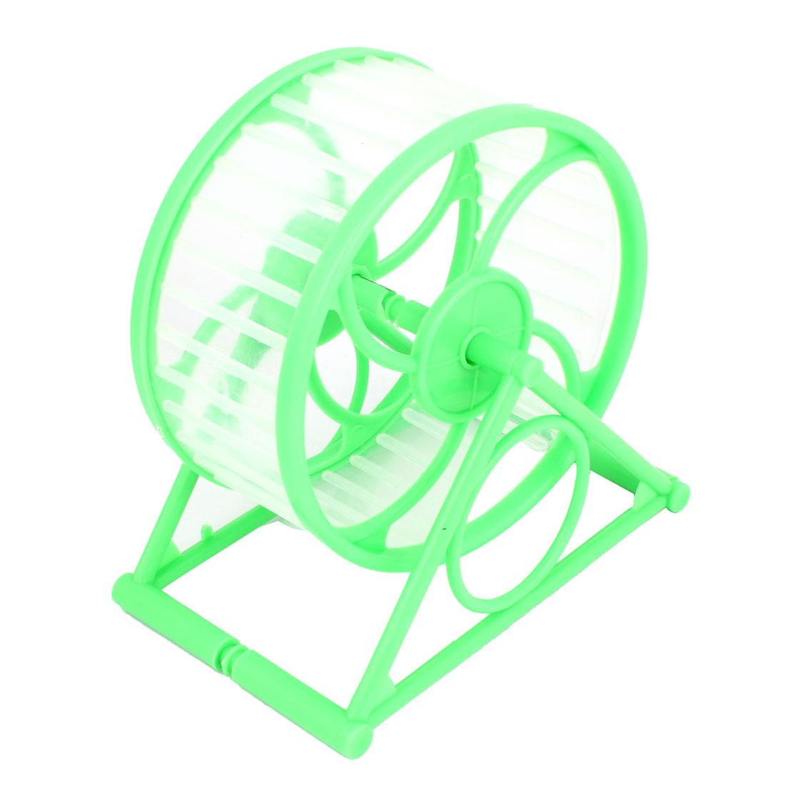 12.5cm Dia Green Plastic Rotary Exercise Running Wheel for Pet Hamster Mouse
