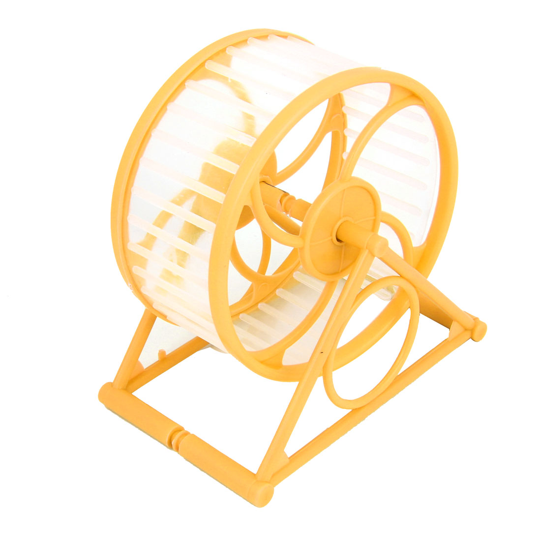 12.5cm Dia Yellow Plastic Rotary Exercise Running Wheel for Pet Hamster Mouse