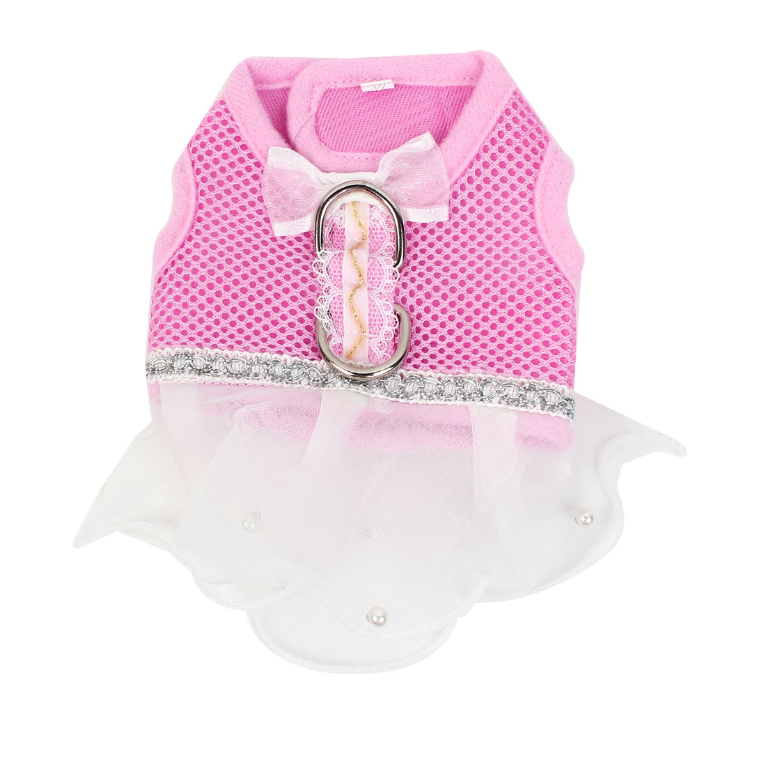Pet Dog Puppy Detachable Closure Netty Design Dress Apparel Skirt Pink White Size XS