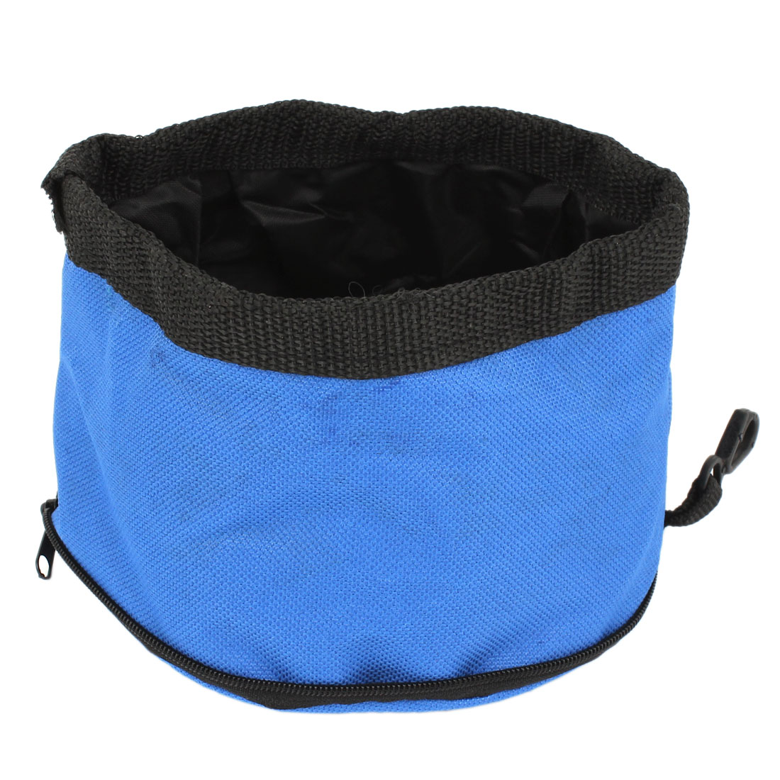 Camping Travel Pet Dog Puppy Folded Zip Up Food Dish Bowl Blue 15cm Dia
