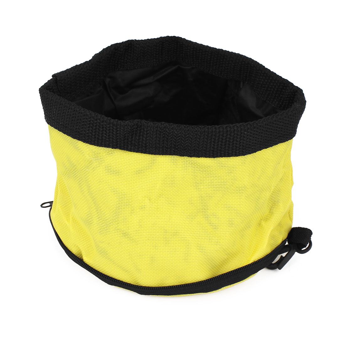 Camping Travel Pet Dog Puppy Folded Zip Up Food Dish Bowl Yellow 15cm Dia