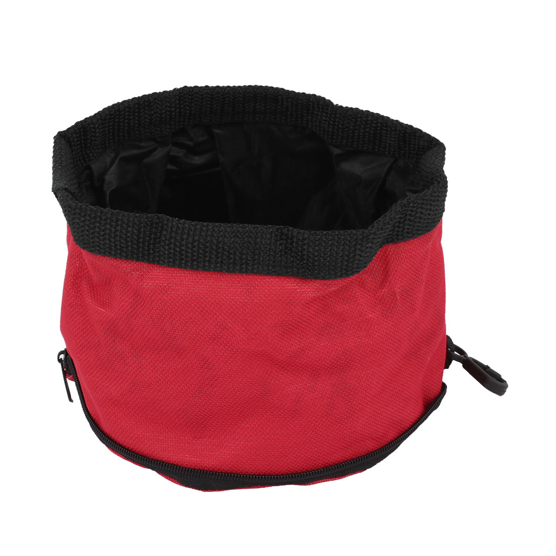 Camping Travel Pet Dog Puppy Folded Zip Up Food Dish Bowl Red 15cm Dia