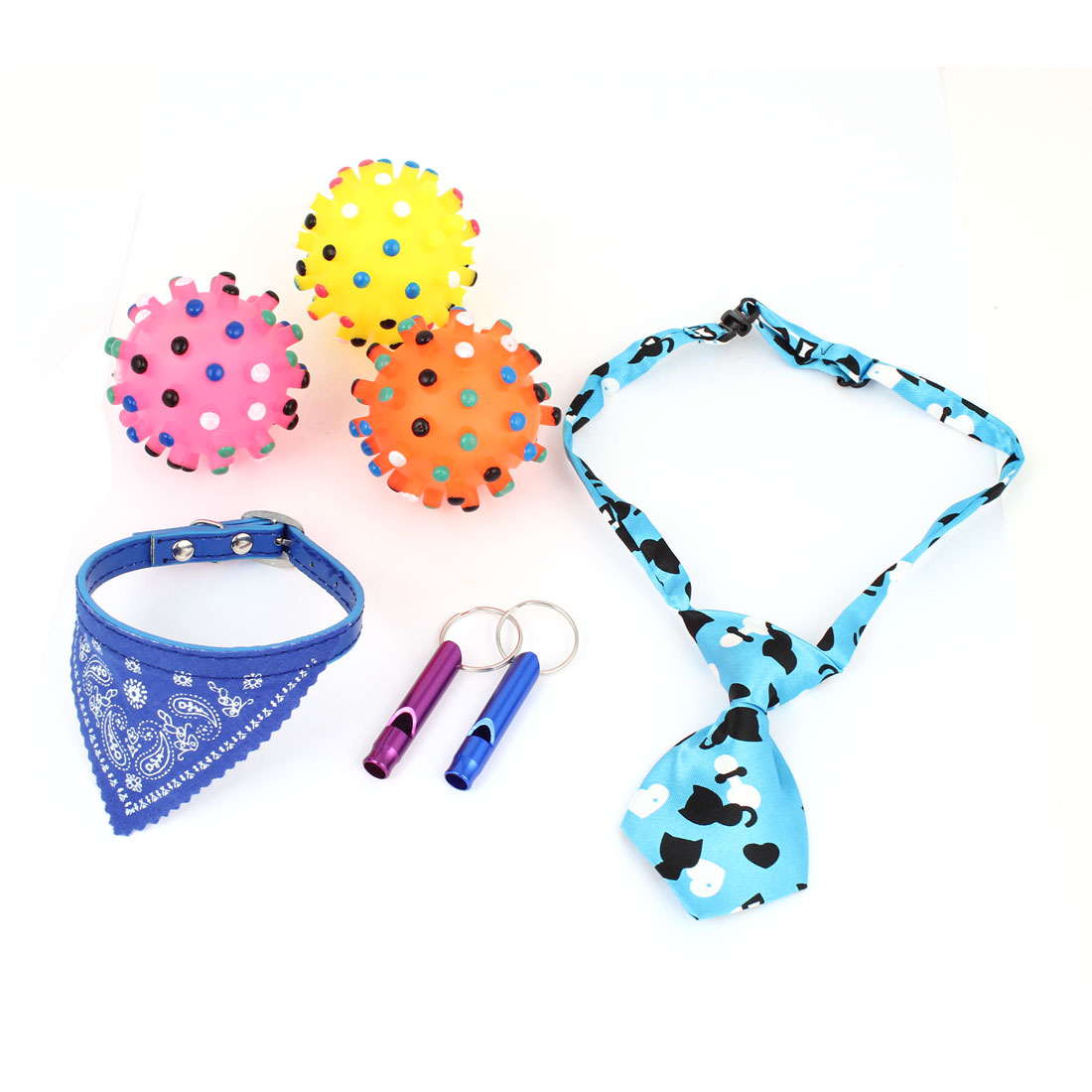 Whistle Necklace Tie Squeaky Chewing Toy 7 in 1 Set for Pet Dog Doggy