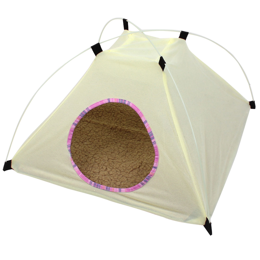 Light Yellow 19cm Entrance Hole Dia Pet Dog Cat Folding Tent Nest Doghouse