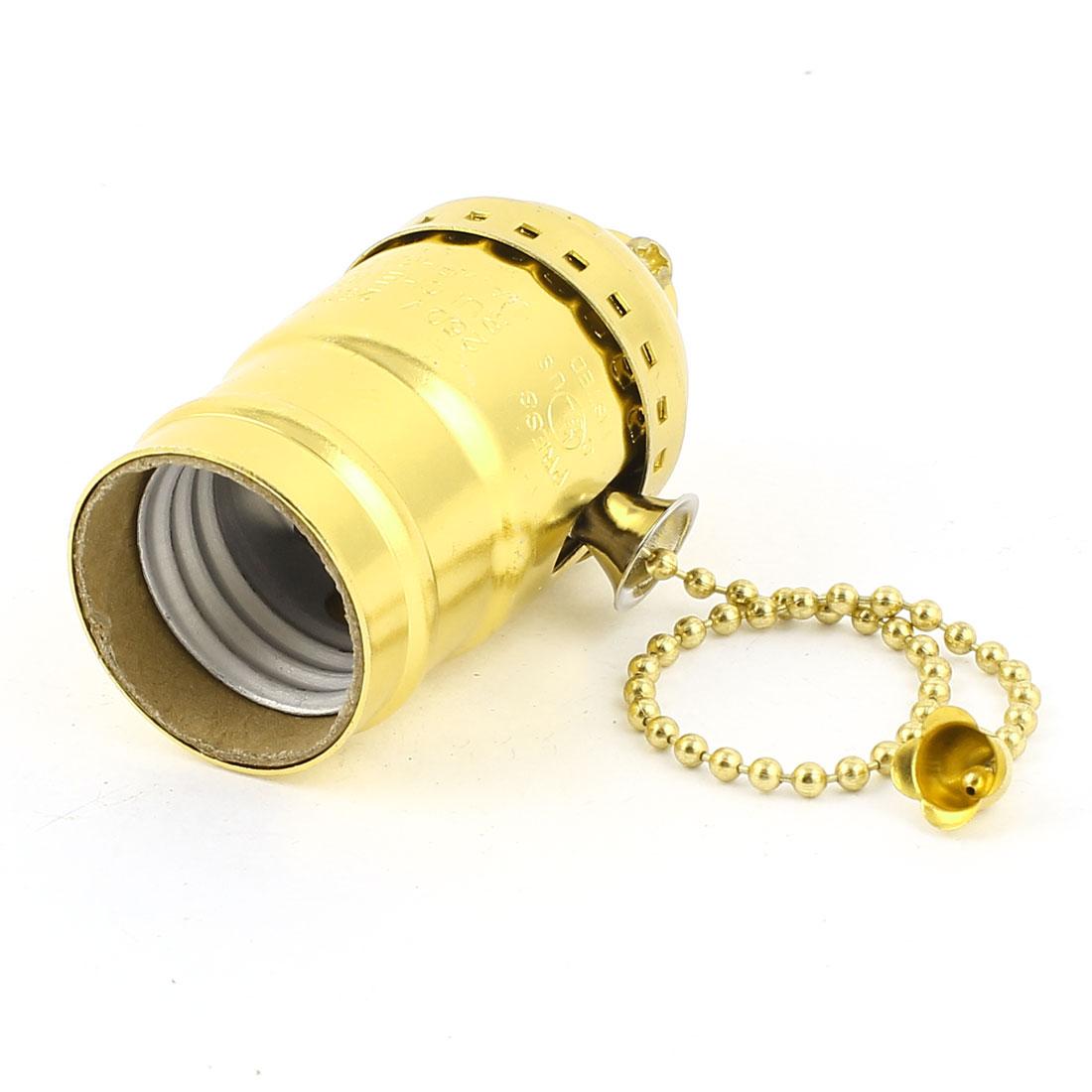 E27 E26 Bulb Base Holders Light Gold Tone Screw Pull Chain Lamp Socket