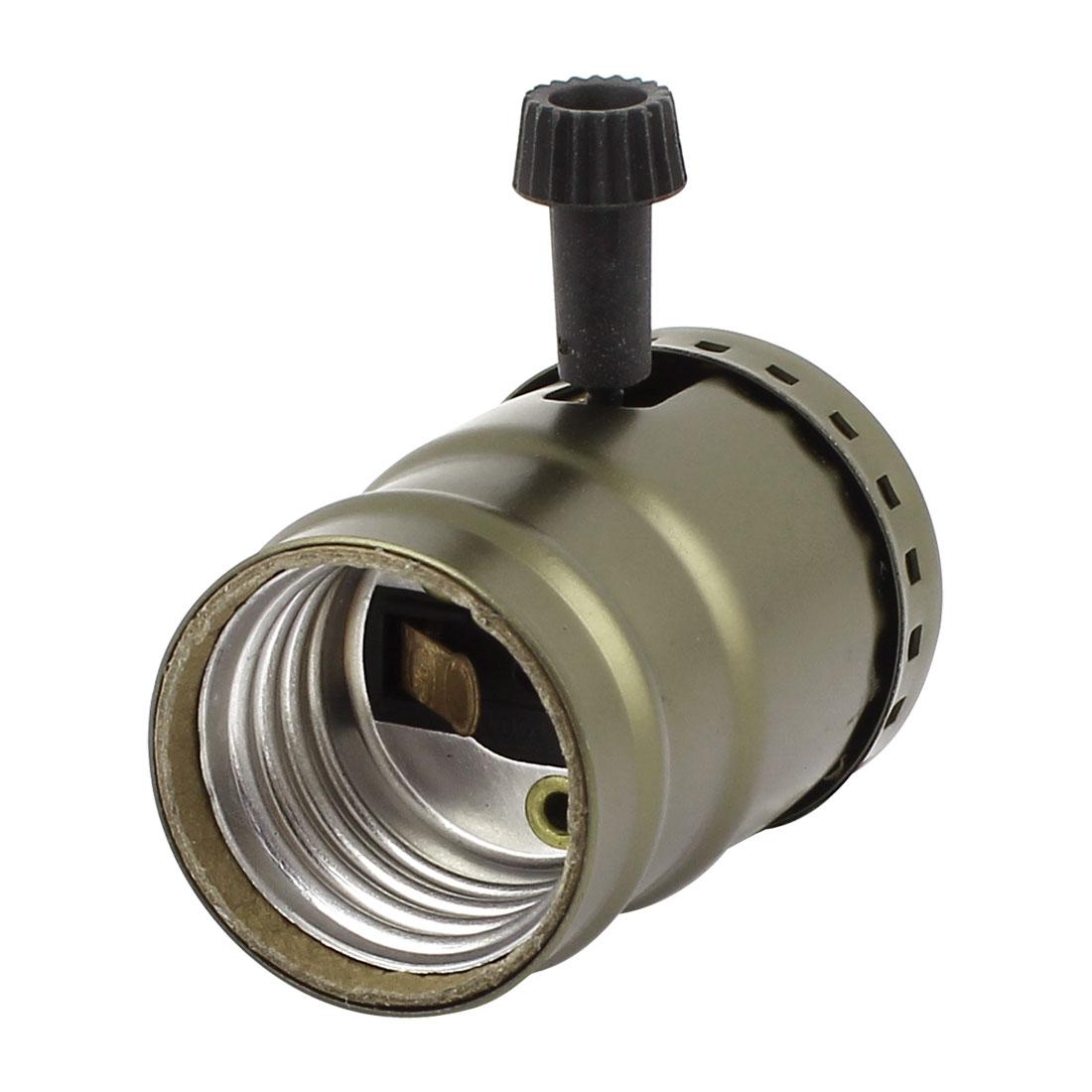 E26 E27 Bulb Base Holders Screw Rotary Switch Lamp Socket Adapter Bronze Tone