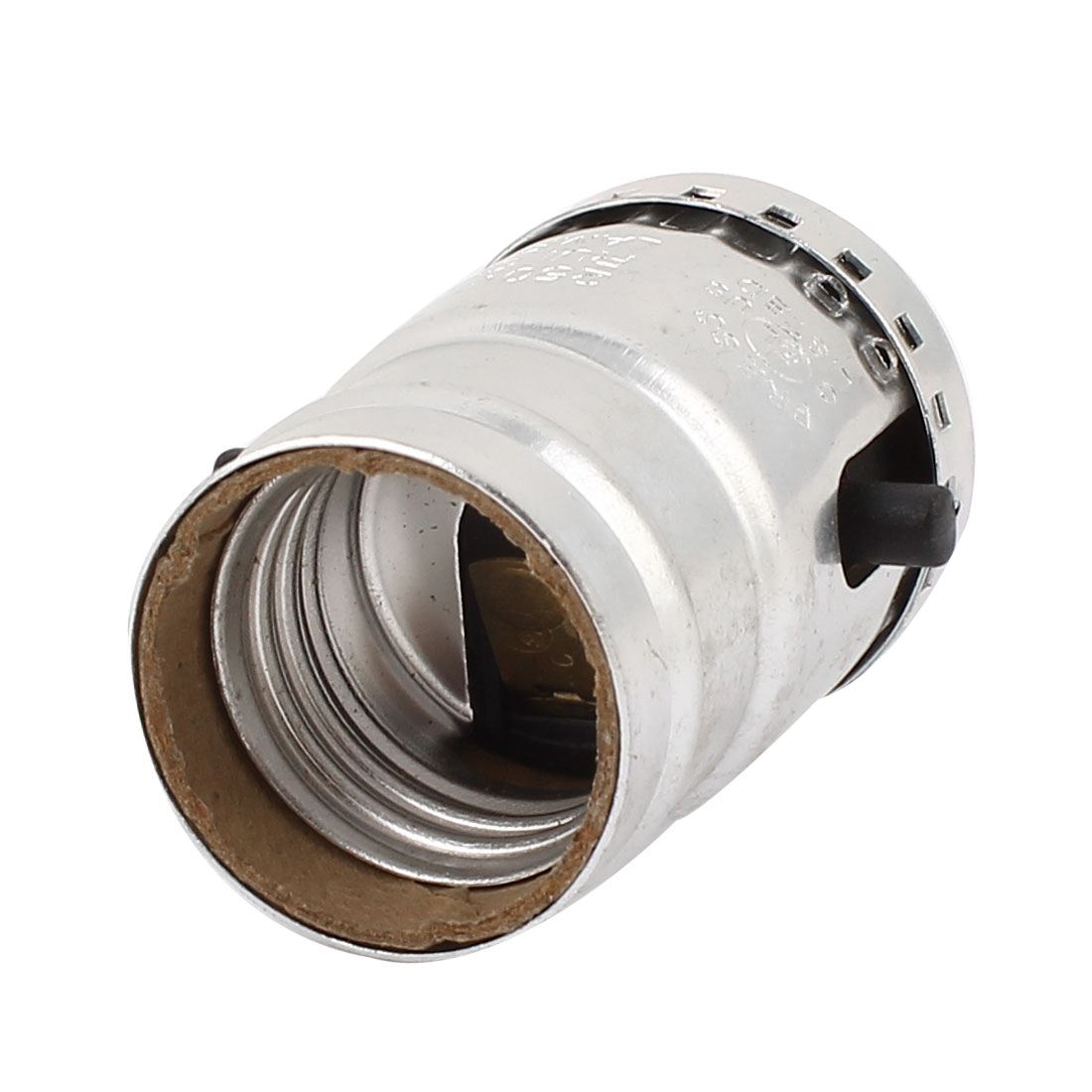 E26 Bulb Base Holder Light Screw Switch Lamp Socket Adapter Silver Tone