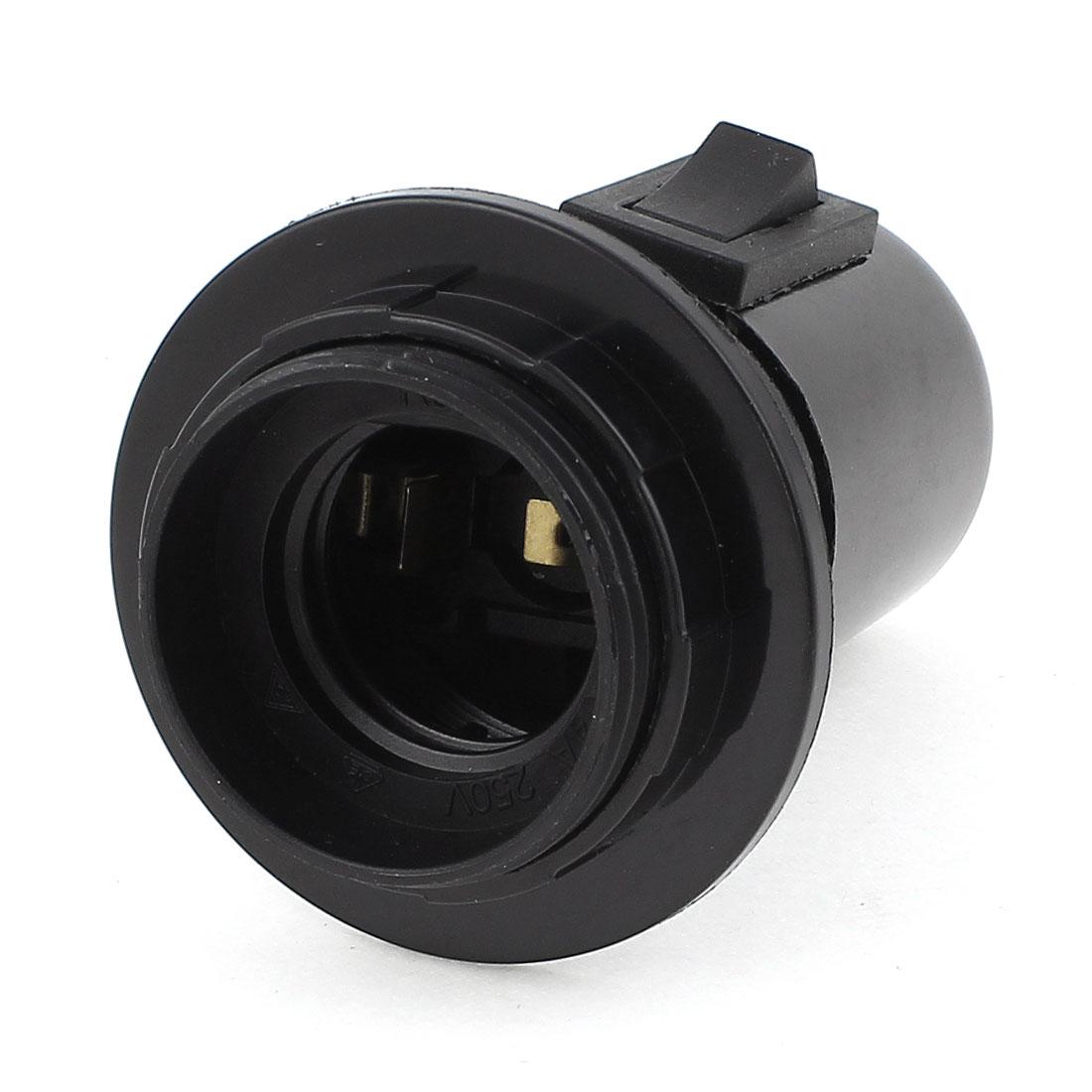 Black Control Switch E27 Bulb Base Screw Lamp Holder Socket Converter