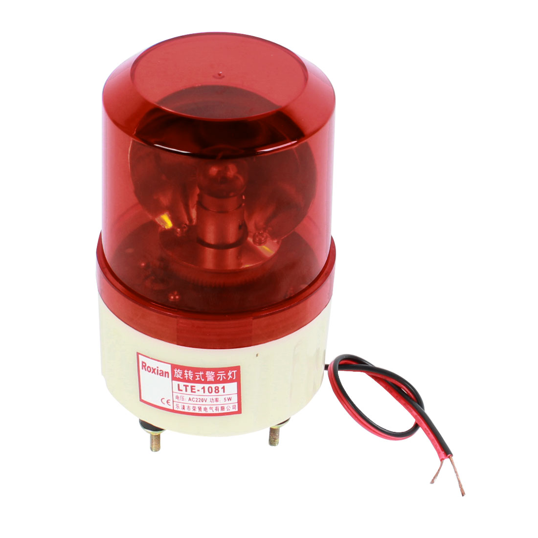 AC 220V 5W Flash Strobe Rotary Signal Warning Emergency Industrial Light Lamp Red LTE-1081