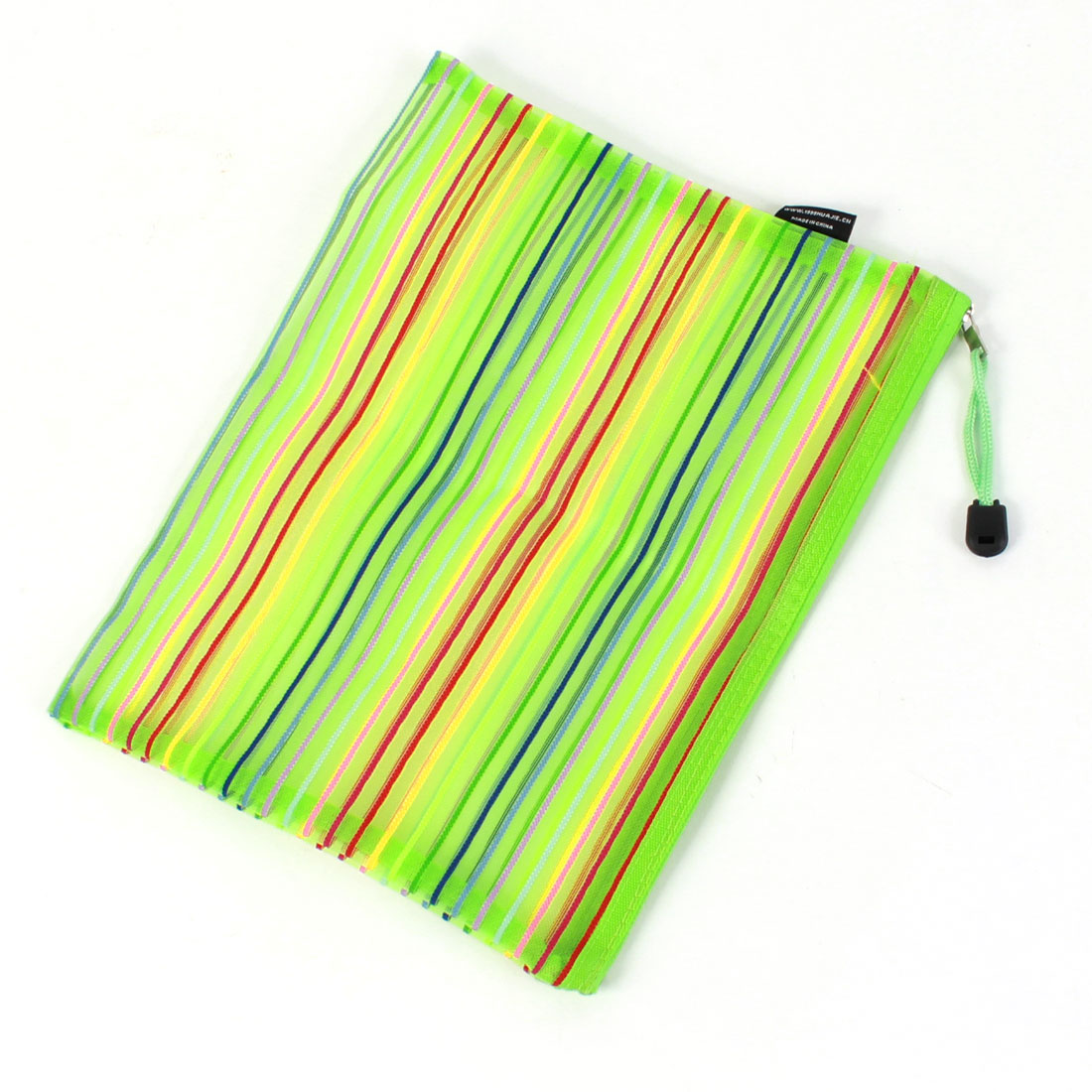 Green Single Compartment Zipper Document Files Bag for Student