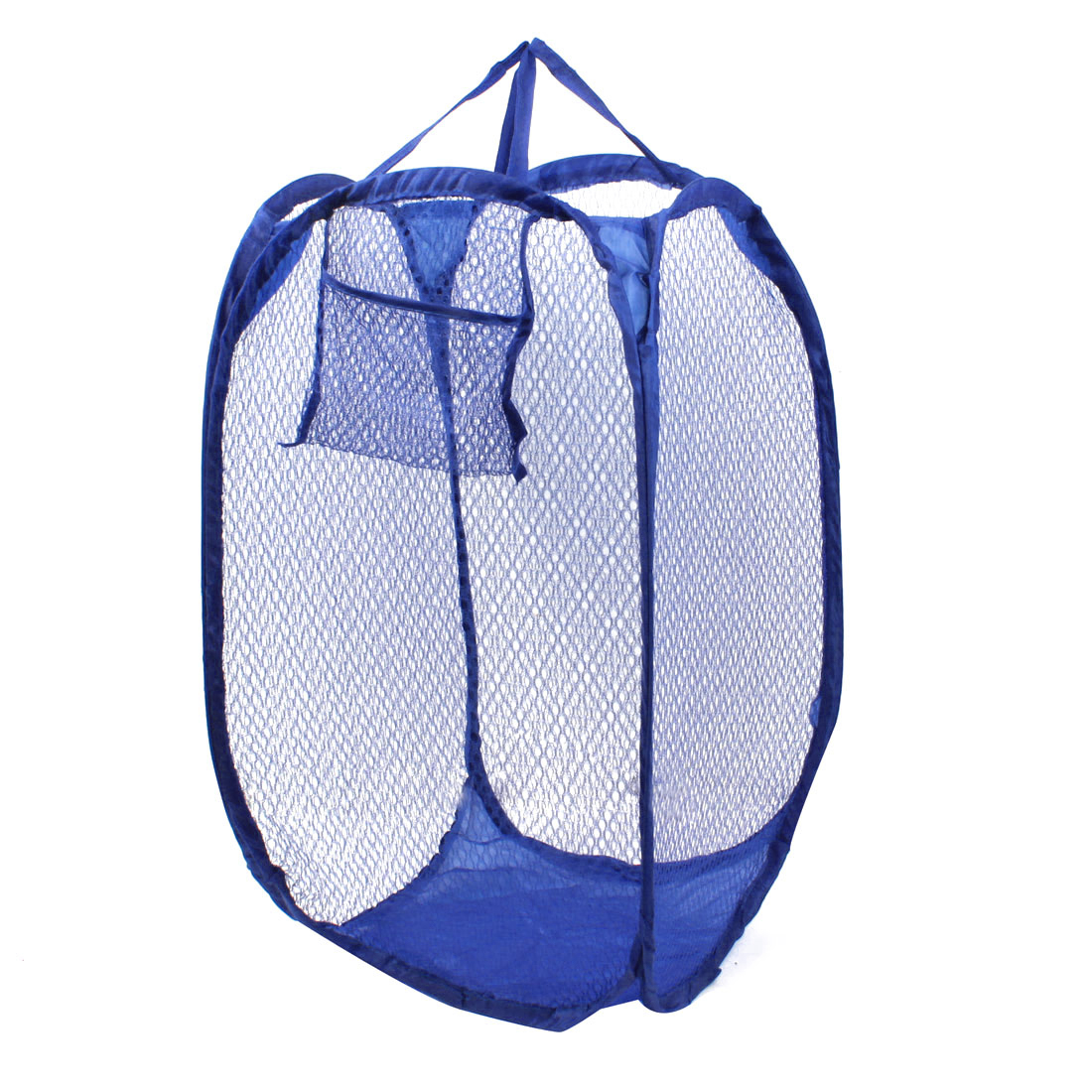 Blue Strap Nylon Netty Foldable Tidy Clothes Storage Laundry Basket