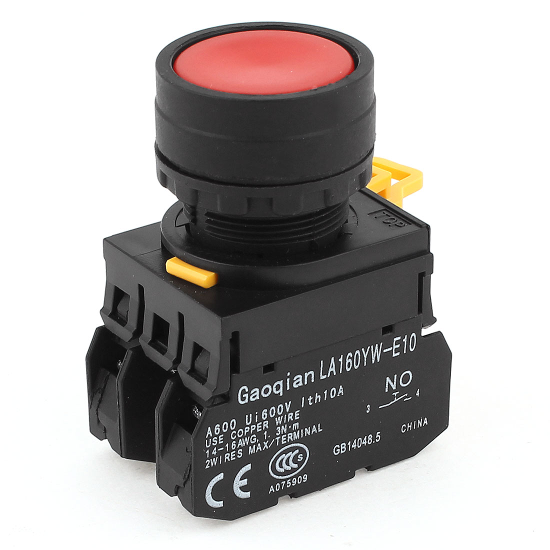 600V 10A NC NO DPST Momentary Red Round Head Pushbutton Press Switch