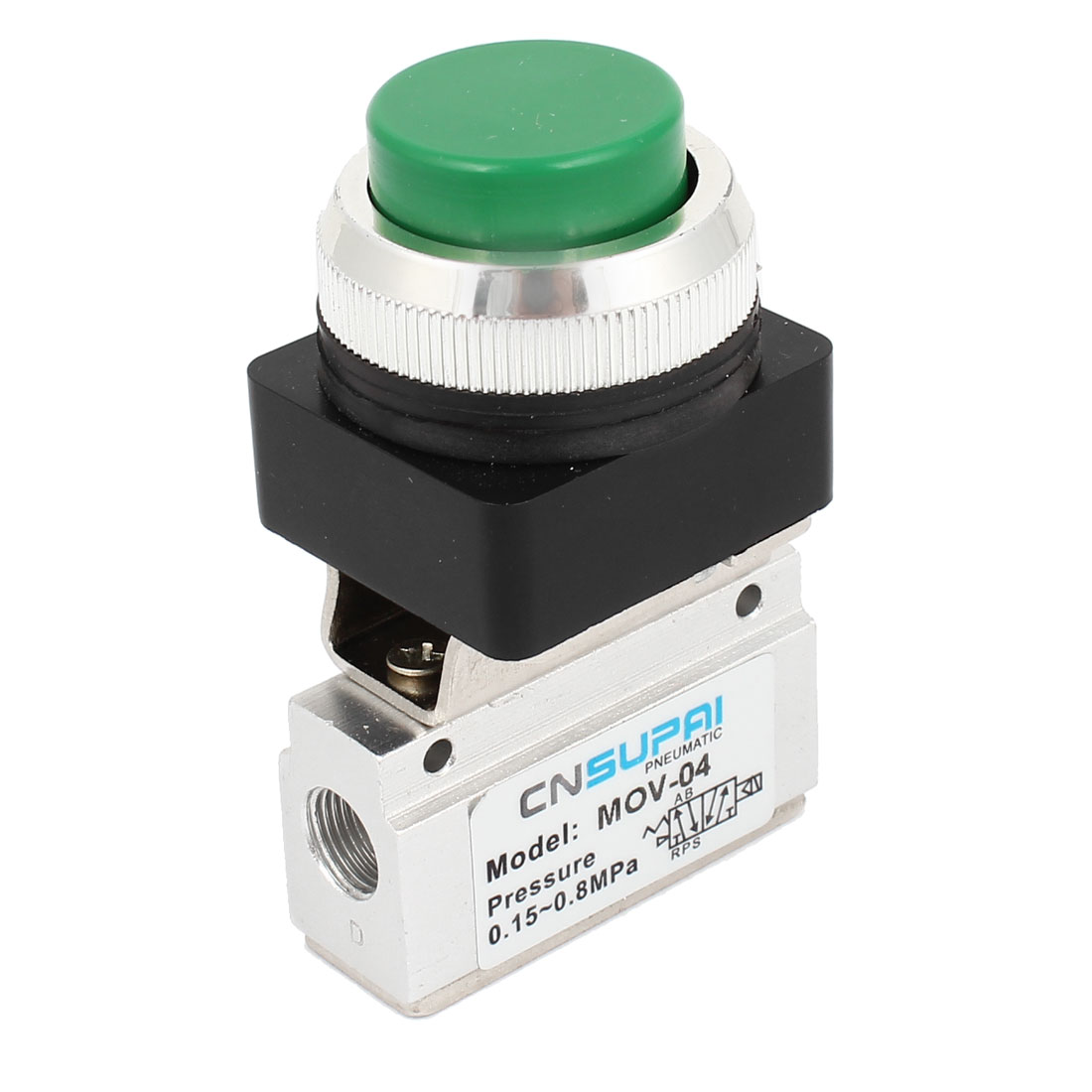 MOV-04 1/8PT Green Round Push Button Momentary Air Pneumatic Mechanical Valve