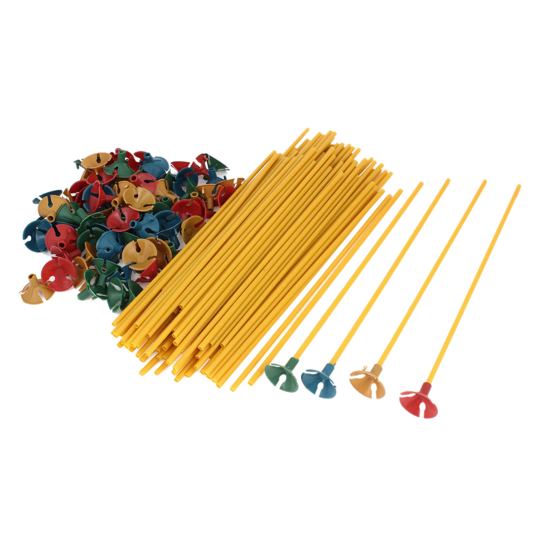 100 Pcs Party Decoration Yellow Plastic Balloon Sticks w Assorted Color Cups