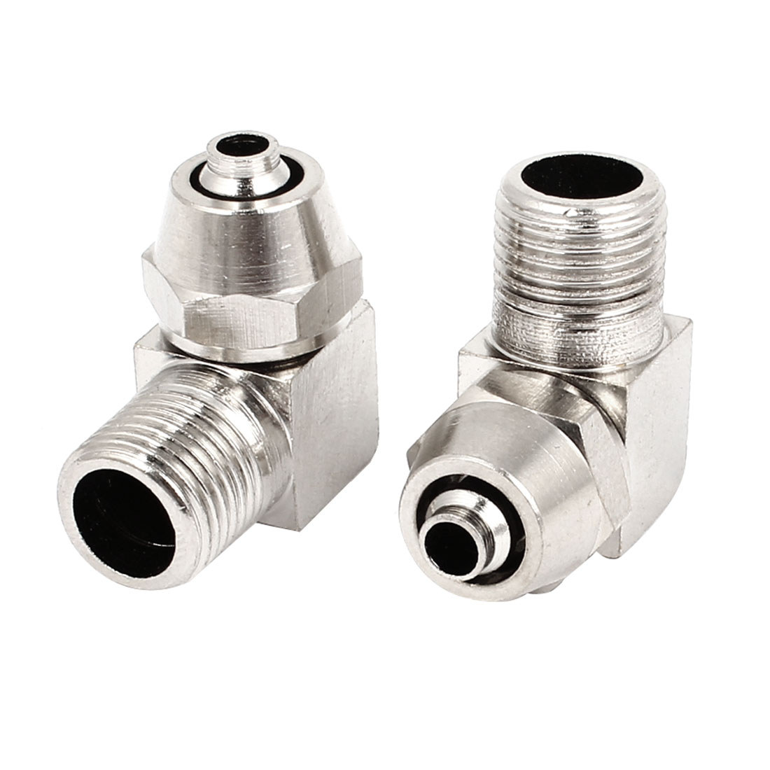 2 Pcs 4mmx9mm Air Hose 1/8PT Male Thread Right Angle Quick Coupler Connector
