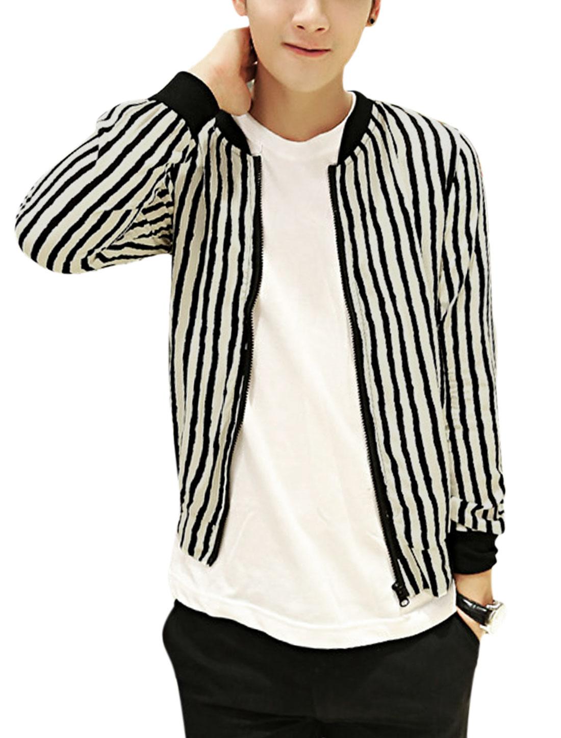 Men Casual Rib Knit Collar Contrast Stripes Pattern Light Jacket Beige Black S