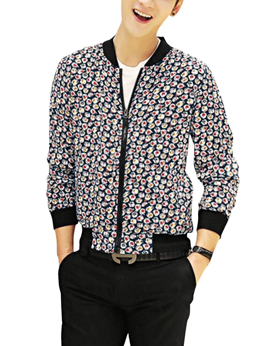 Men Slant Pockets Allover Floral Print Zipper Front Fashion Light Jacket Navy Blue Pale Red S