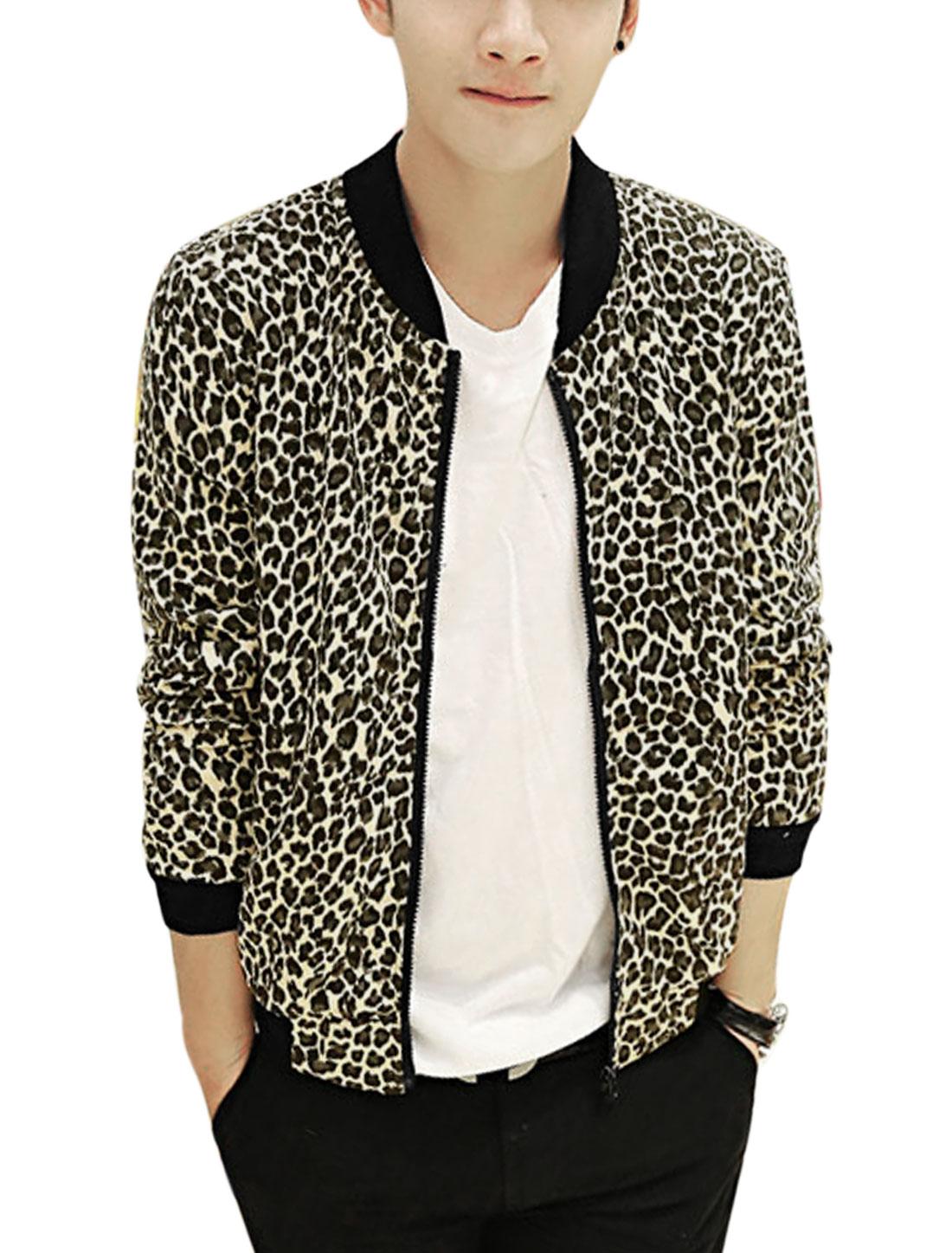 Men Rib Knit Collar Allover Leopard Print Slant Pockets Fashion Jacket Beige Steel Blue S