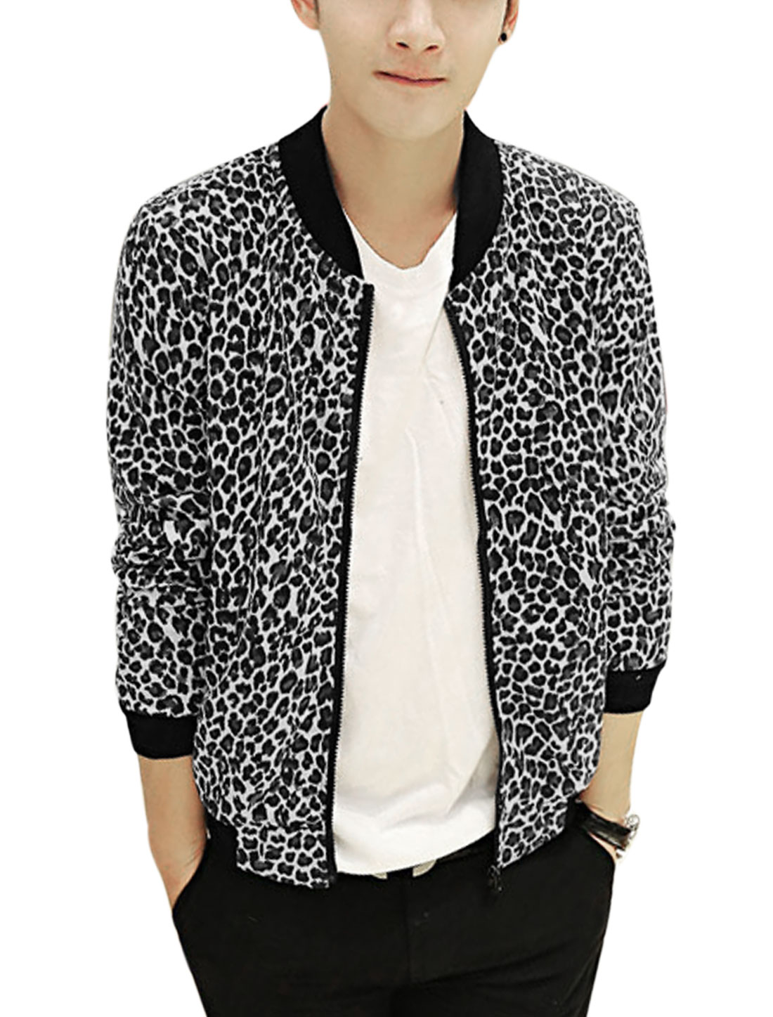 Men Rib Knit Collar Allover Leopard Print Full Zipper Fashion Jacket White Steel Blue S