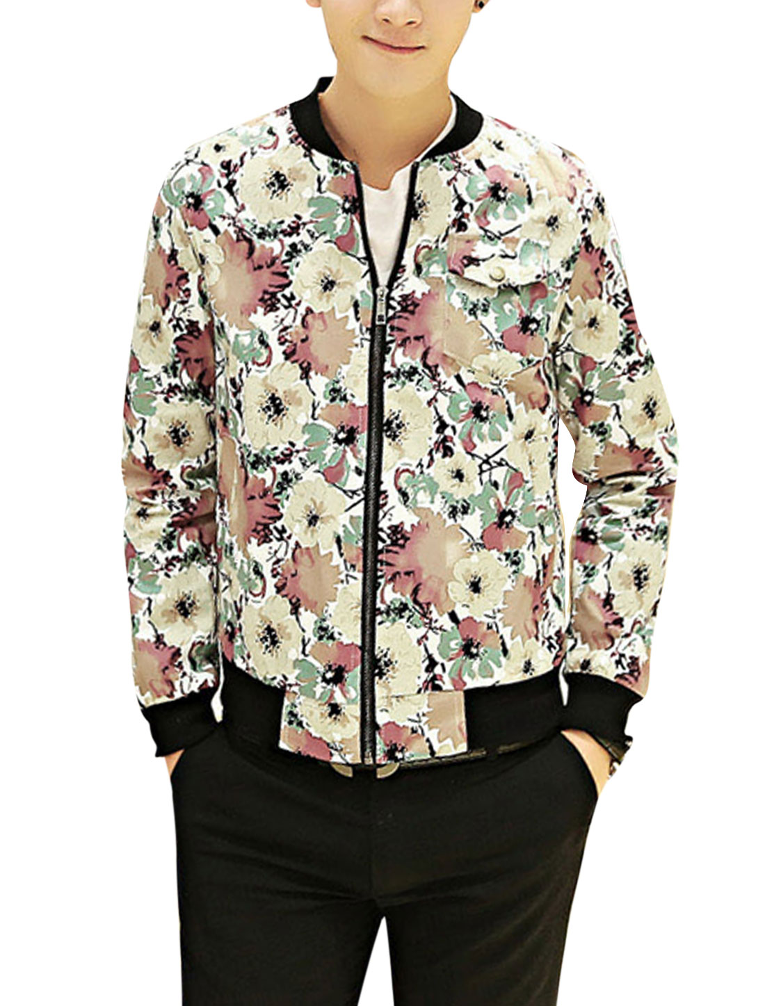 Men Rib Knit Collar Allover Flower Print Full Zip Fashion Jacket White Pale Red S