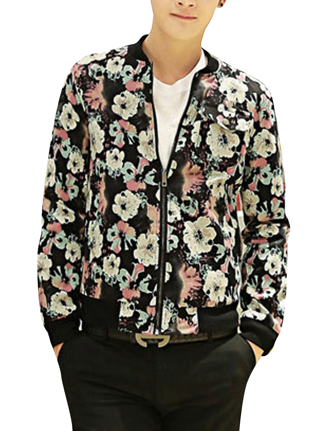 Men Ribbed Cuffs Allover Flower Print Fashion Jacket Black Pale Red S